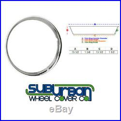 15 Stainless Steel Chrome HOT ROD Ribbed Trim Rings / Beauty Rings New SET OF 4