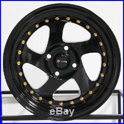 15x8 Black Wheels Vors VR2 4x100 20 (Set of 4)