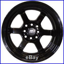 15x8 MST Time Attack 4x100/4x114.3 0 Black Wheels Rims Set(4)