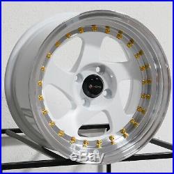 15x8 White Wheels Vors VR2 4x100 20 (Set of 4)