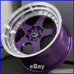 16x8 Candy Purple Machine Lip Wheels JNC 010 JNC010 4x100/4x114.3 25 (Set of 4)