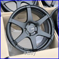 17x8 +35 Enkei T6S 5x114.3 Black Rims Wheels Fits Veloster Mazda Speed 3 Civic