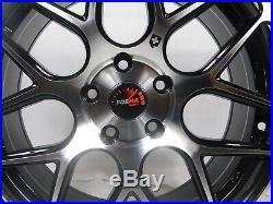 17x8 5x114.3 Custom Wheels Rims SET of 4 Machined Black NEW