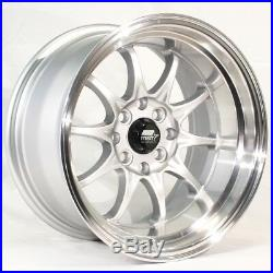 17x9 MST MT11 5x100/5x114.3 +20 Silver withMachined Lip Wheels (Set of 4)