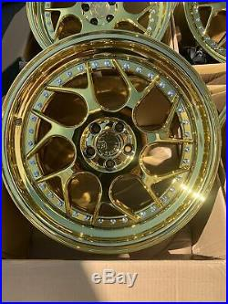 18x8.5 +35 AodHan Ds01 5x100 +35 Gold Vacuum Wheels Rims (Used Set)