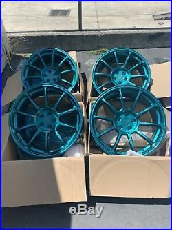18x9 +30 AodHan AH06 5x100mm Teal Wheels Rims (Used Set)
