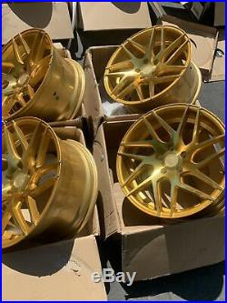 18x9 +30 AodHan LS008 5x114.3 Gold Machined Face Wheels Rims (Used Set)
