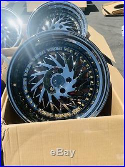 18x9.5 +15 F /18x10.5 +15 R AodHan DS03 5x114.3 Black Vacuum Wheels (Used Set)