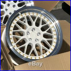 18x9.5 +30 AodHan AH02 5x100 White WithMachined Lip Wheels (Used Set)