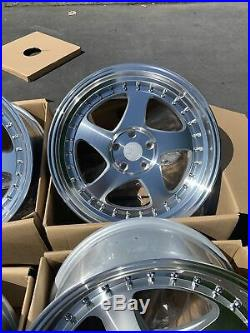 18x9.5 +30 F /18x10.5 +25 R AodHan AH01 5x114.3 Silver Wheels Rims (Used Set)