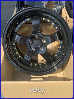18x9.5 +30 F /18x10.5 +25 R AodHan AH03 5x114.3 Black Wheels Rims (Used)