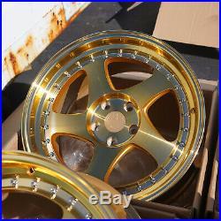 18x9.5 AodHan AH01 5x114.3 +30 Gold Rims Aggressive Fits Civic Rsx TL Accord