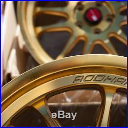 18x9.5 Aodhan Rims AH07 5x100 +30 Gold Machined Face Wheels (Used Set)