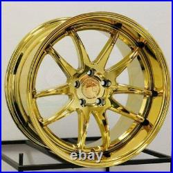19 Inch AodHan DS02 19x11 5x114.3 +15 Wheels Deep Dish Vacuum Gold Rims Set 4
