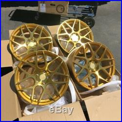 19x8.5 +35 AodHan LS002 5x114.3 Gold Wheels Rims (Use Set)