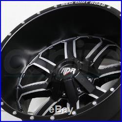 20x12 RDR RD01 RD1 6x135/6x5.5/6x139.7 -44 Black Machine Wheels Rims Set(4)