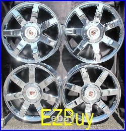22 Inch New Cadillac Escalade Chrome Wheels Rims 5309 With Center Caps Set Of 4