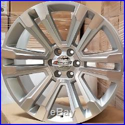 24 GMC Replica Rims Silver Wheels Fit Tahoe Sierra Denali Yukon Silverado G10