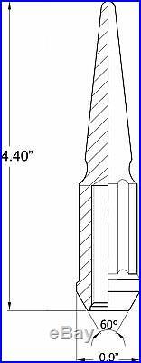 24 PC Spike Spline Black Steel Lug Nuts 14x1.5 Chevy Silverado Suburban 1500