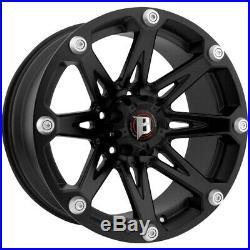 4-16 Inch Ballistic 814 Jester 16x8 6x139.7(6x5.5) -6mm Flat Black Wheels Rims