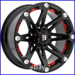 4-20 Inch Ballistic 814 Jester 20x9 6x139.7(6x5.5) +12mm Flat Black Wheels Rims