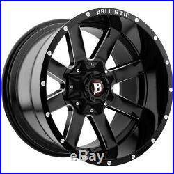 4-20 Inch Ballistic 959 Rage 20x12 6x135/6x5.5 -44mm Black/Milled Wheels Rims