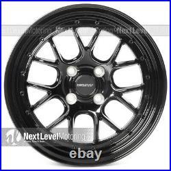 Circuit CP27 15x7 4-100 +35 Full Gloss Black Wheels Fits Honda Civic EG EK 4 pc