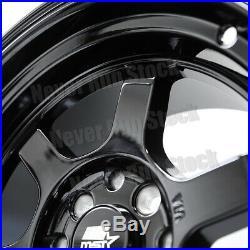 MST MT-01 15x8 4x100/114.3 AGGRESSIVE FIT 0 OFFSET 6 SPOKES BLACK TUNER 4 WHEELS