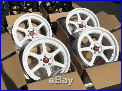 Used Set 18x9.5 AodHan AH08 5x100 +30 White Rims Wheels